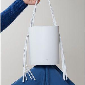 Mansur Gavriel Fringe Bucket Bag White leather NWT